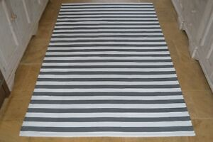 FLOOR-RUG-100-Cotton-Lymington-Flat-Weave-150x240cm-5x8-039-Charcoal-Grey-White