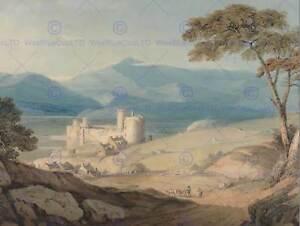 JOHN-VARLEY-BRITISH-HARLECH-CASTLE-SNOWDON-OLD-ART-PAINTING-POSTER-BB5951B