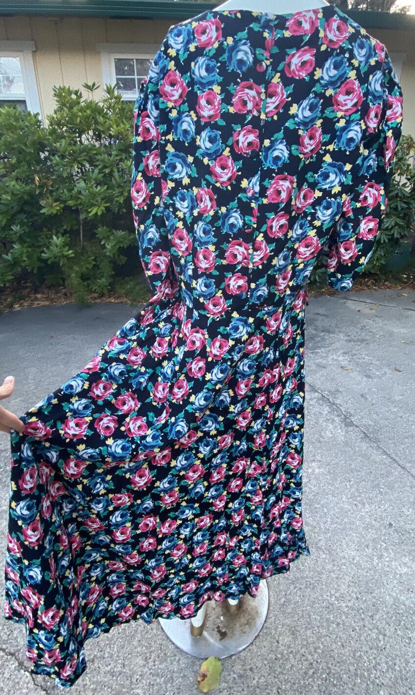 80s 90s Vtg Floral Print Laura Ashley Dress Cotta… - image 7