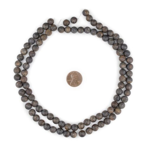 Matte Round Bronzite Beads 8mm Brown Stone 15 Inch Strand