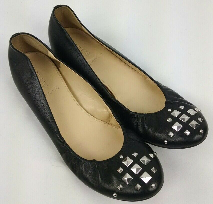 Ladies J. Crew  Black Leather Studded Cece Pyramid Ballet Flats Size 8