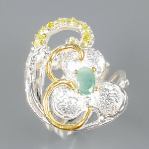 Emerald Ring Silver 925 Sterling Jewelry Fine Art Size 7.5 /R139245