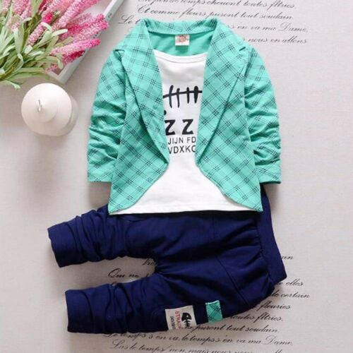 2PCS Kids Baby Boys Gentleman Shirt Tops+Long Pants Formal Party Clothes Set UK