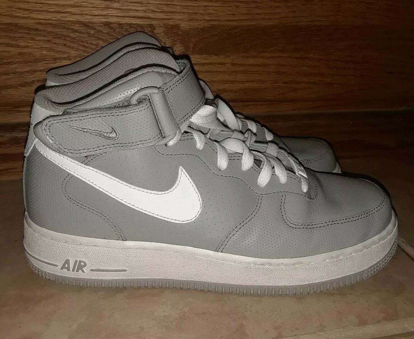 NIKE Air Force 1 Mid '11 315123 008 Perf Grey Sneakers shoes 7.5
