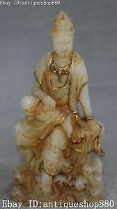 """12/"""" Unique China Old Jade Gilt Sleeping Kwan-yin Guanyin Quan Yin Goddess Statue"""
