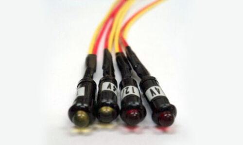 "Warning Indicator Universal Street Rod 5//32/"" LED Dash Lights 2 RED /& 2 Yellow"