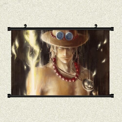 One Piece Anime Japan Cosplay Portgas D Ace Scroll Painting Wall Mural Poster