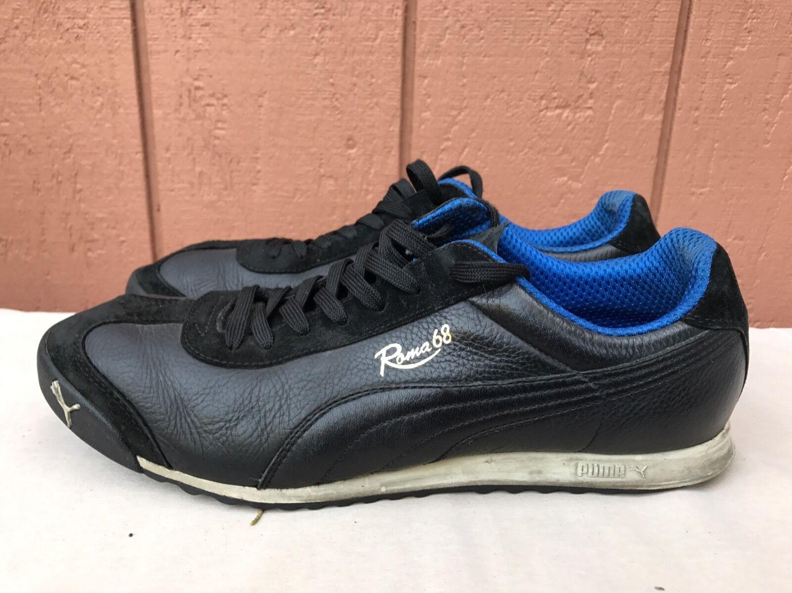 Rare Puma Roma 68 base cuero negro marca vintage zapatillas zapatillas  zapatillas hombres a58da9 dc38d9b7bf