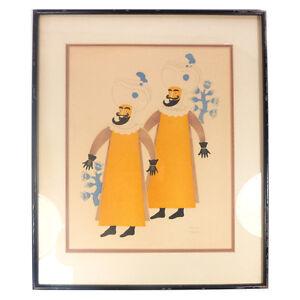 Vintage-Framed-Mexican-Guatemalan-Carlos-Merida-Signed-Litho-Print-19-50-034