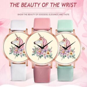 Fashion-Watches-Women-Girl-Unicorn-Faux-Leather-Band-Quartz-Round-Wrist-Watch