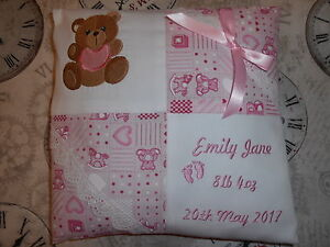 Image is loading PERSONALISED-EMBROIDERED-BABY-CUSHION -TEDDY-WITH-BIB-DESIGN-