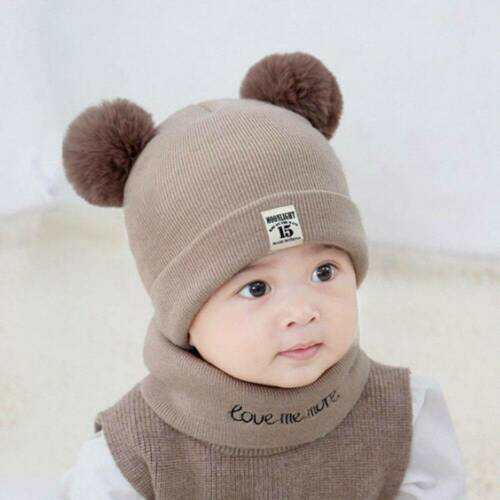Cute Toddler Kids Baby Infant Winter Warm Crochet Knit Hat Beanie Cap Scarf Set