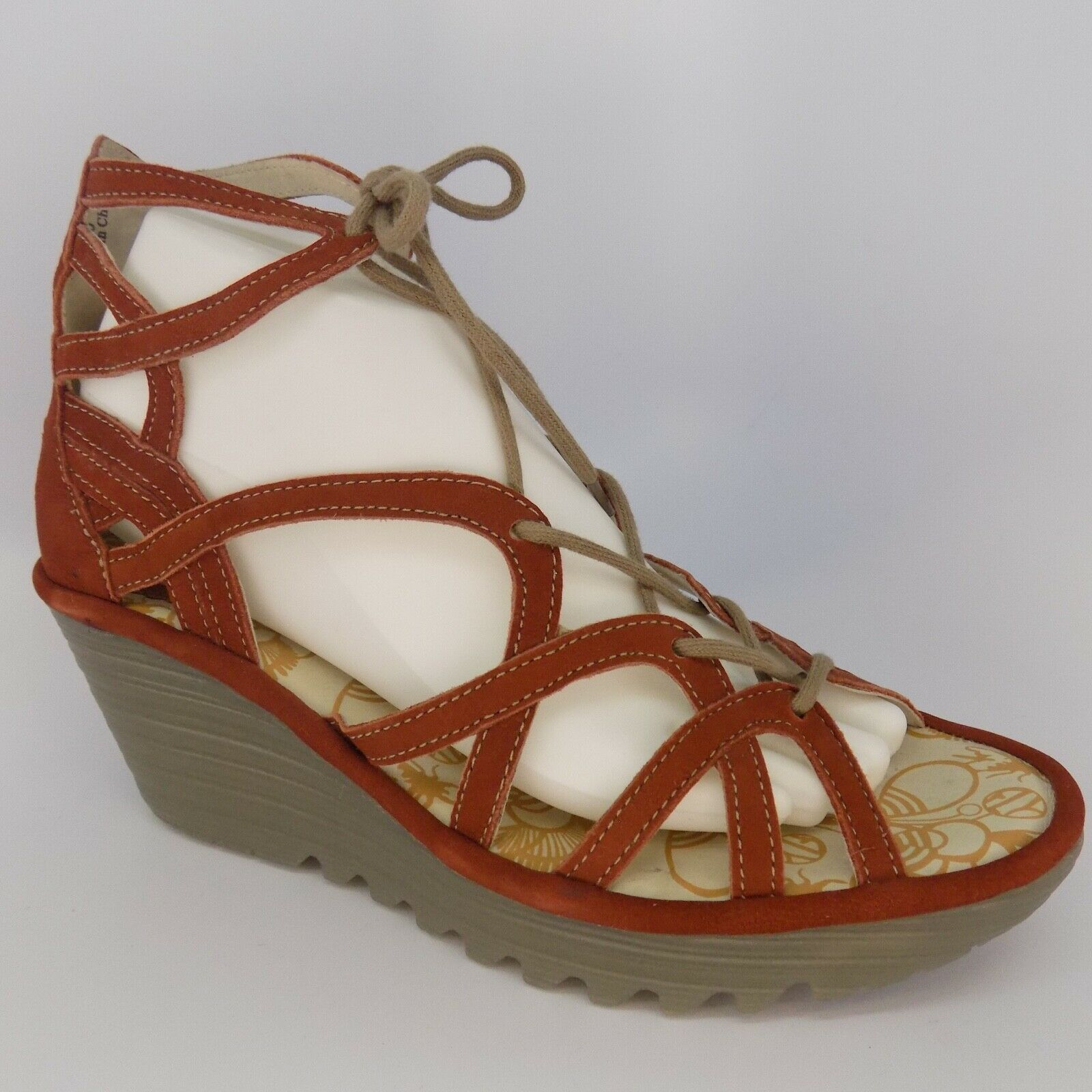 FLY LONDON Yuke Lace-Up Wedge Women Sandals Size 9-9.5 EU 40 AL5183