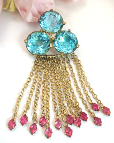 Vintage Costume Jewelry FRED A Block Blue Pink Dan