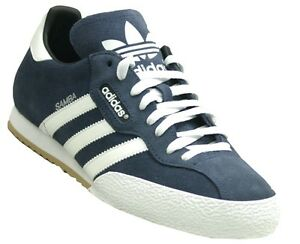 super popular 18b09 3ecde Image is loading adidas-Samba-Mens-Originals-Trainers-Navy-Blue-Suede-