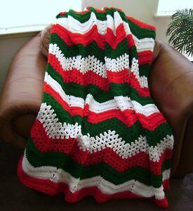 New Hand Crochet Christmas Red Green White Ripple Afghan Lap Blanket