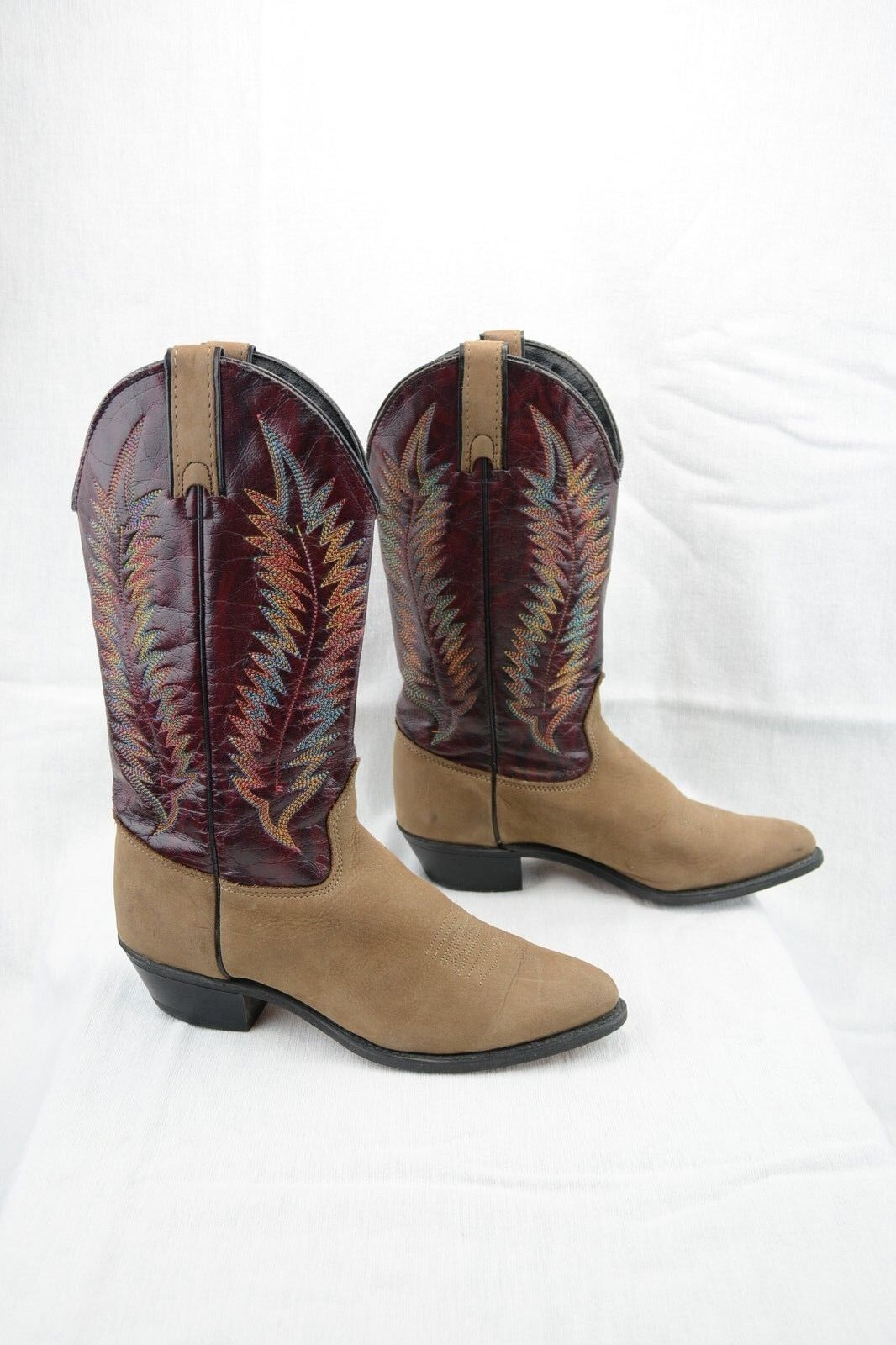 Wrangler Vintage Womens 6.5M Western Cowboy Boots Tan Burgundy Leather Suede A14