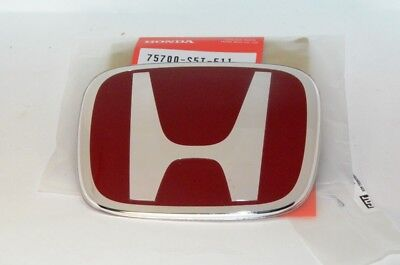 GENUINE HONDA TYPE R BADGE EMBLEM RED H GRILL 123mm x 99mm 75700-S5T-E11