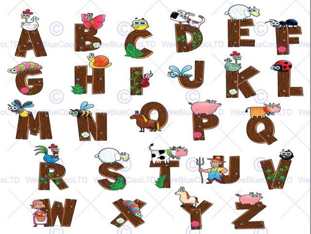 Painting Cartoon Alphabet Animals Farm Children Kids Vector Poster ...