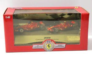 1:43 Ferrari World Champion F2008 Set de 2 voitures Hotwheels L8784 Raikkonen Massa