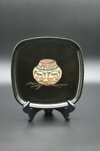 Vintage Couroc Black Lacquer Tray Inlay Southwestern Pottery Basket Vase & Wheat