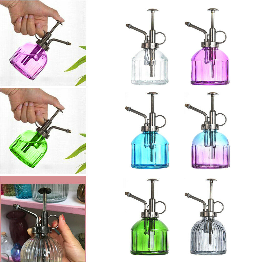 Transparent Glass Plant Mister Watering Can w/ Plastic Top Pump for Garden