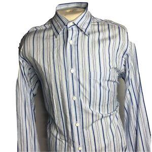 Bugatchi-Uomo-Mens-Blue-Striped-Long-Sleeve-Button-Front-Shirt-Size-XL-034-C