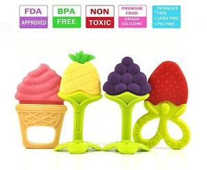 4Pcs BPA Free Natural Silicone Baby Teething Toys Soft Sensory Fruit Teethers