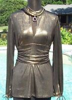 Cache Luxe $158 Metallic Elaborate Ruched Top Tunic Event Scarf Wrap Stretch