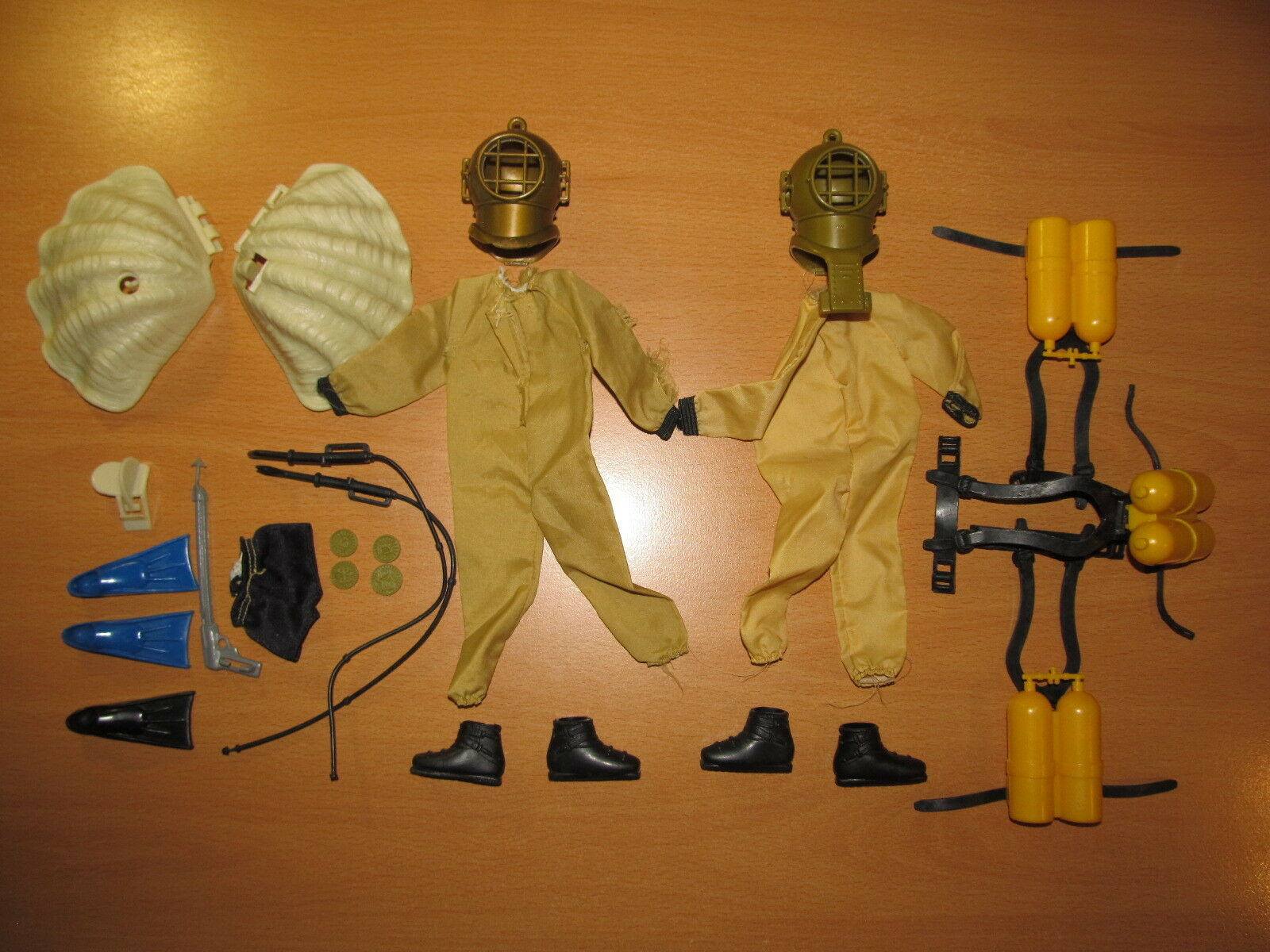 VINTAGE BIG JIM  TERROR OFF TAHITI - DIVER PART LOT (1978 - MATTEL MEGO)