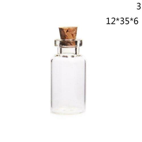 Wholesale Mini Small Tiny Clear Cork Stopper Glass sizes Bottles Jars 3 Via R7W0