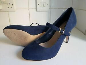 BLUE SUEDE COURT MARY JANE HEELS SHOES