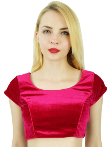 phagun elegante Samt magenta crop top gepolsterte Saree Bluse Sari choli