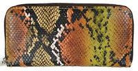 Kristine Accessories Zip Around Wallet Khaki Brown Gold Faux Snake