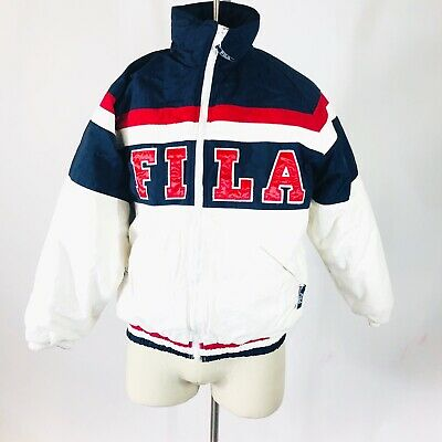 90's Vintage FILA Spell Out Heavy Weight Red White & Blue ...