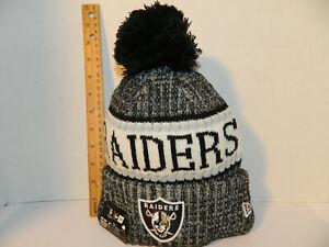 b0fa0abd4b1 Oakland Raiders Knit Hat NFL New Era Winter Pom Black cuffed Beanie ...