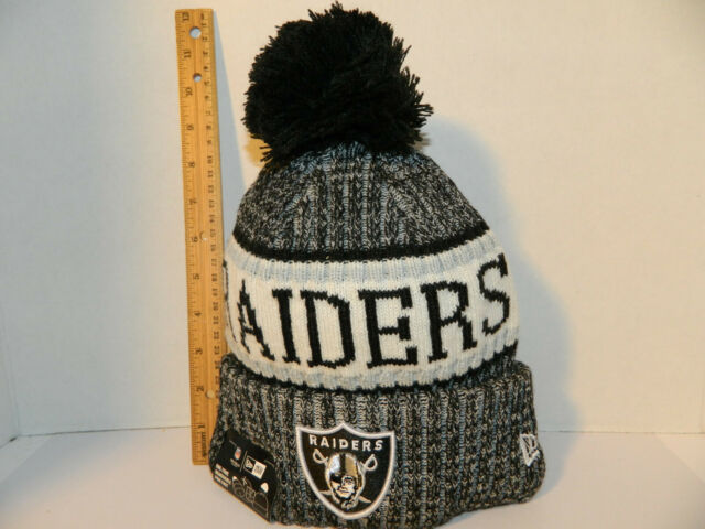 2e7d6483a Oakland Raiders Knit Hat NFL New Era Winter Pom Black cuffed Beanie Knit  Cap NWT