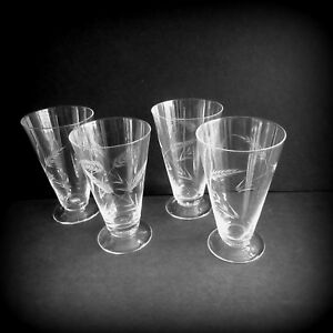 Lot-of-4-Etched-Wheat-Drinking-Glasses-Iced-Tea-Beer-1960s-10-oz-5-25-034-tall