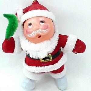 Christmas-Santa-Claus-figure-toy-doll-Flocked-ornament-decoration-Vintage-Kitsch