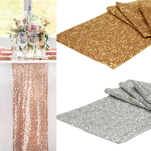 30*275cm Sparkly Sequins Table Runner Wedding Table Cloth Cover Party Decoration