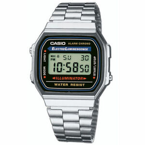 Reloj-de-Pulsera-Casio-Retro-Clasico-Unisex-Digital-de-Acero-Inoxidable-Plata-A168WA-1YES