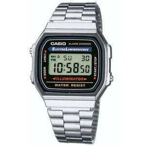 Reloj-de-Pulsera-Casio-Retro-Clasico-Unisex-Digital-de-Acero-Inoxidable-A168WA-1YES-Nuevo-Plata