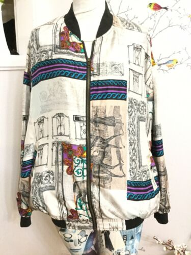 Vintage Robert Stock 100% Silk 80's/90's Bomer Jac