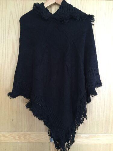 Women Boho Hoodie Cape Poncho Shawl Scarf Sweater Fringe Hooded Jacket Coat