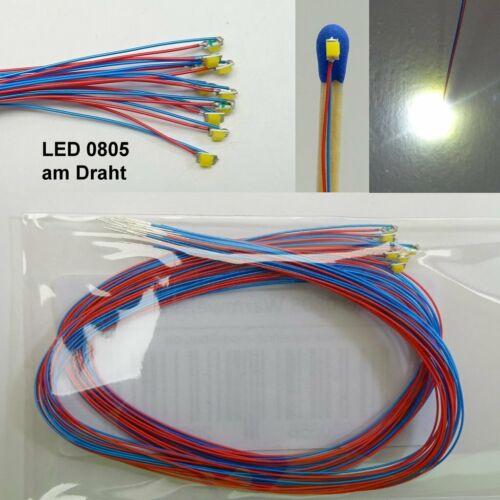 10 Stück SMD LED 0805 Warmweiss verdrahtet mit Kabel am Draht Microkabel C4067