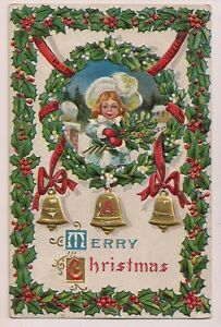 Merry-Christmas-little-girl-with-Holly-and-Bells-vintage-postcard
