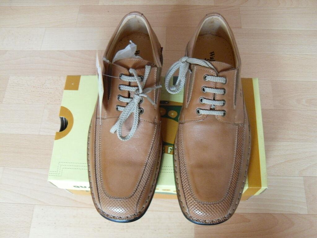 WalkerFlex Business-Schuhe   echtes Leder   handgenäht   Gr. 45   hellbraun