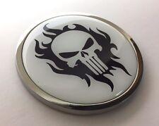 """PUNISHER 3D Domed Emblem Badge Car Sticker METAL Chrome Bezel ROUND 3 3/8"""""""