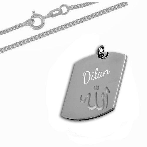 DogTag Anhänger mit ausgestanztem Allah Motiv-Silber925-Inkl Gravuir/&Kette