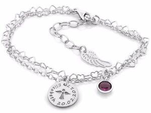 Armband silber mit Namen, Schutzengel, Armband zur Taufe, 925 Silber